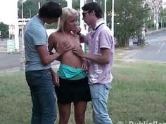 PUBLIC cross street blonde teen sex orgy gangbang by guys with big dicks