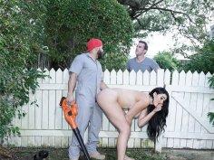 Fucking the new gardener in her own backyard