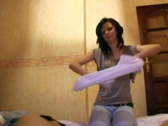 Slutty bitch Maja sucks and wanks a cock in the motel room