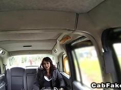 Ebony beauty fucks for free cab drive in public