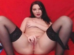 Horny Busty Teen Fingering her Tight Pink Pussy so