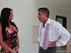 Stunning buxom babe Mackenzee Pierce seduces the dude and sucks his dick