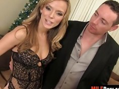 Seductive blonde wife Pristine Edge teases clit while getting her pussy penetrated