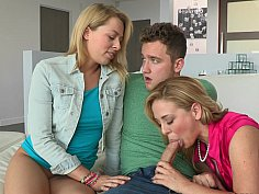 Sexy moms suck and fuck teen in turns
