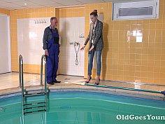 Hotties Glory Likes to Swim in the Pool