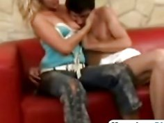 Blonde milf bangs horny guy in diapers with strap on