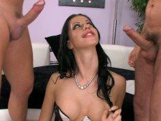 Astonishing brunette slut Larissa Dee in corset sucks two cocks